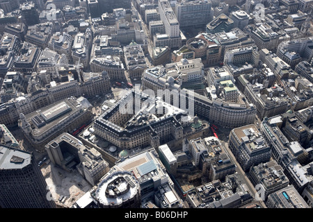 Aerial view south east of Stock Exchange Tower Royal Exchange Bank of England No 1 Poultry City of London EC2 EC4 - Stock Photo