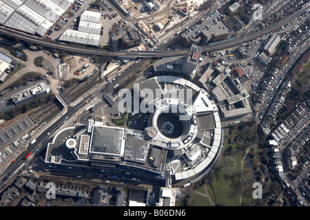 Aerial view south east of BBC Television Centre Wood Lane Hammersmith Park Hammersmith Fulham London W12 England - Stock Photo