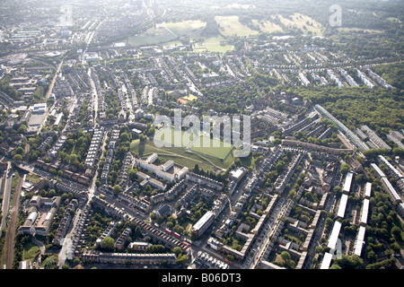 Aerial view south west of Merryweather Brennand Tennis Courts Highgate Cemetery Hampstead Heath suburban housing - Stock Photo