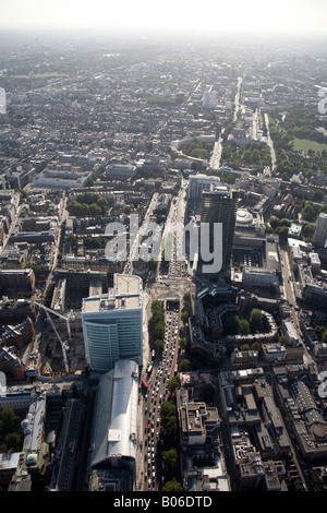 Aerial view south west of Euston Underpass Tolmer s Square tower blocks construction work Regent s Park Crescent - Stock Photo
