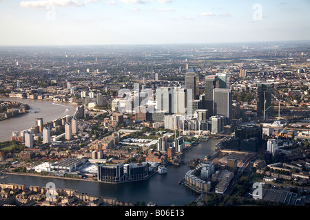 Aerial view north of Canary Wharf and Millwall Outer Dock London E14 England UK - Stock Photo