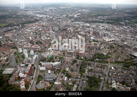 Aerial view north east of Sheffield University Brook Hill and City Centre S10 S1 South Yorkshire - Stock Photo