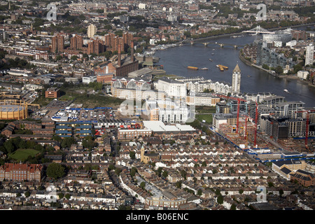 Aerial view north east of Chelsea Harbour Pier Lots Road Power Station River Thames Battersea Reach Albert Bridge - Stock Photo