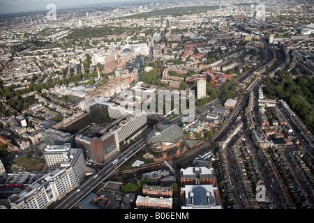 Aerial view north east of Hotel Novotel West London Ark Talgarth Road Hammersmith Flyover suburban buildings Kensington - Stock Photo