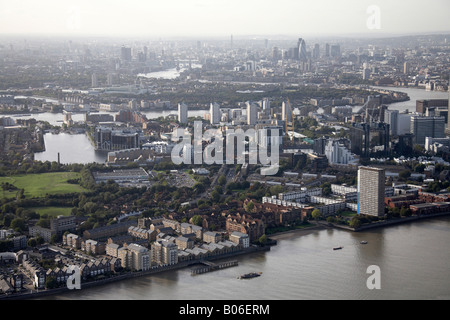 Aerial view north west of River Thames Millwall Outer Dock flats Cubitt Town Isle of Dogs Rotherhithe City of London - Stock Photo