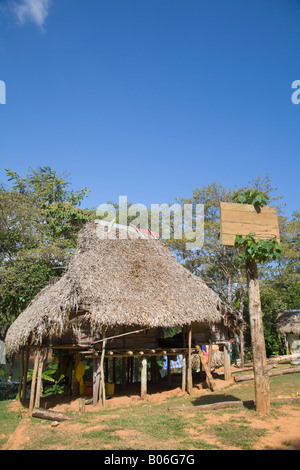 Panama, Chagres River, Embera Village, Thatched hut - Stock Photo