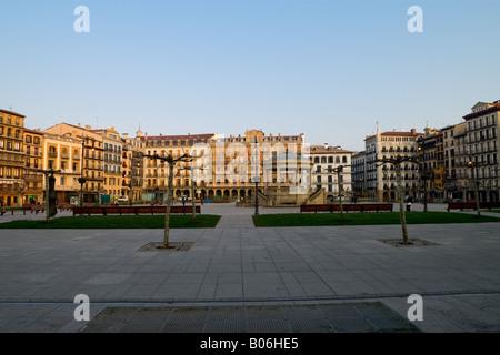Plaza del Castillo in Pamplona (Navarre, Spain) - Stock Photo