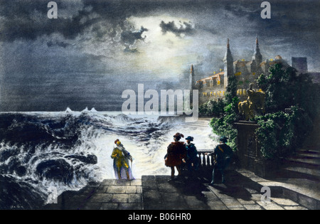 Hamlet and his fathers ghost a scene from Shakespeare. Hand-colored photogravure of an illustration - Stock Photo