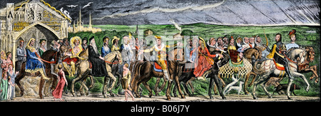 Pilgrims embarking on their journey in Chaucer classic Canterbury Tales. Hand-colored halftone of an illustration - Stock Photo