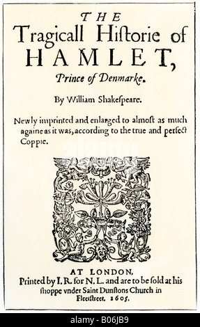 Title page of the 1605 publication of Hamlet by William Shakespeare. Woodcut with a watercolor wash - Stock Photo