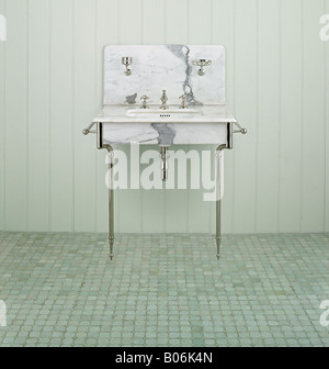 antique restored french basin sink bathroom marble - Stock Photo