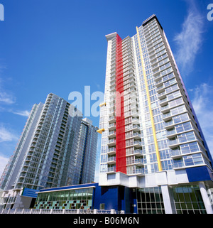 High Rise Apartment and Condominium Buildings Downtown in the City of Vancouver British Columbia Canada - Stock Photo