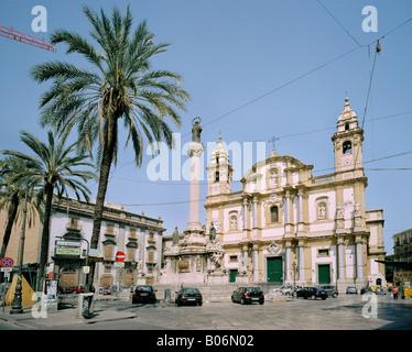 Piazza San Domenico Palermo Sicily Italy - Stock Photo