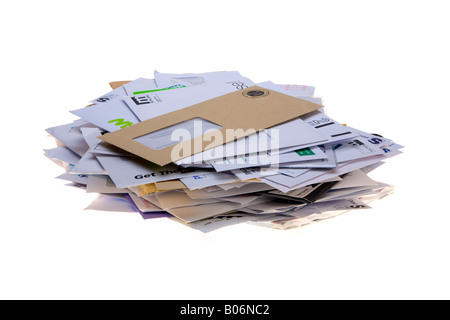 post tray full of junk mail junkmail - Stock Photo