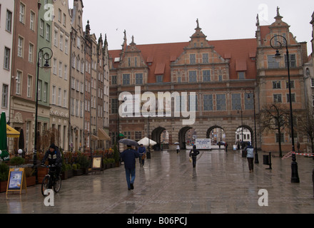 Dlugi Targ in the Old Town of Gdansk (Danzig), Poland, looking towards the Green Gate. - Stock Photo