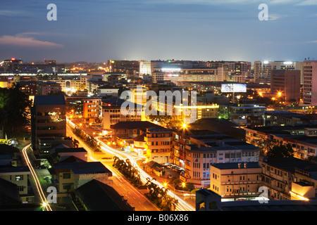 Night View Of Kota Kinabalu, Sabah, Malaysian Borneo - Stock Photo