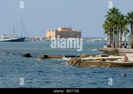 Paphos Castle, originally a Byzantine fort, rebuilt by Lusignans and strengthened by the Ottomans in sunshine by - Stock Photo