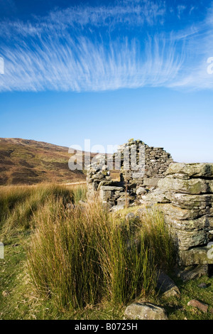 Derelict shieling on the road across Ben Lawers to Glen Lyon - Stock Photo