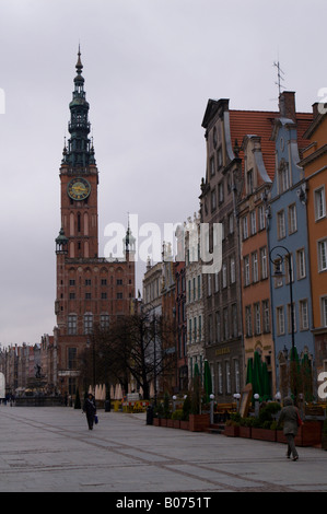 Dlugi Targ in the Old Town of Gdansk (Danzig), Poland, looking towards the Town Hall of the Main City (Historical - Stock Photo