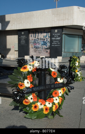 Memorial day of Israeli former prime minister Yitzhak Rabin at the site he was assasinated in Tel Aviv Israel - Stock Photo