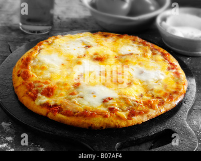 Three cheese margarita pizza - Stock Photo