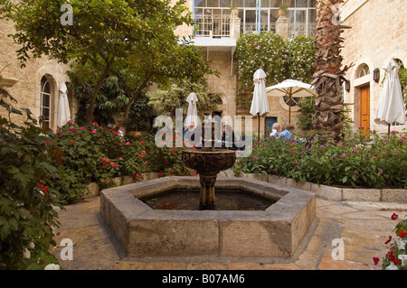 Inner courtyard of the American Colony Hotel East Jerusalem Israel - Stock Photo