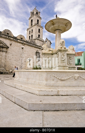 Fuente de los Leones and Iglesia de San Francisco de Asis. La Habana Vieja. Old Havana. Cuba. - Stock Photo