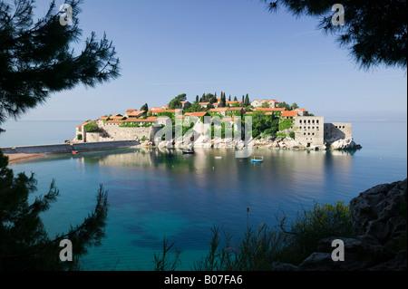 Montenegro, Adriatic coast, Sveti Stefan - Stock Photo