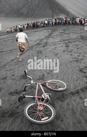 Vanuatu, Tanna Island Mt. Yasur Volcano, Islanders (NR) at  Moto Cross Race on the Volcano Ash Plain - Stock Photo