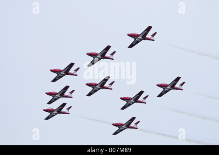 The Canadian Snowbirds aviation nine plane display team in practice over the Comox Forces Base Vancouver Island - Stock Photo