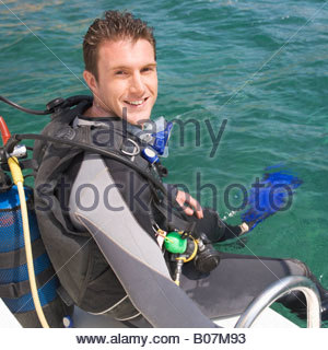 A man about to go scuba diving - Stock Photo