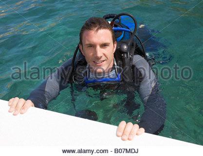 A man scuba diving - Stock Photo