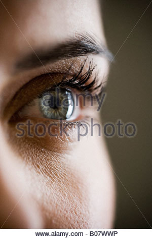 Detail of woman's face showing left eye - Stock Photo