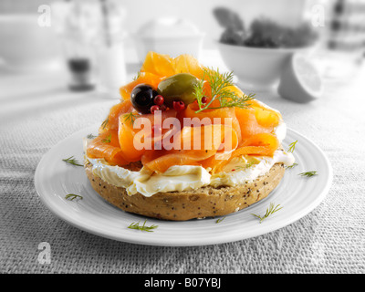 Smoked salmon cream cheese bagel - Stock Photo