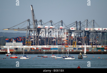 Gantry Cranes at the SCT Southampton Container Terminal southern England - Stock Photo