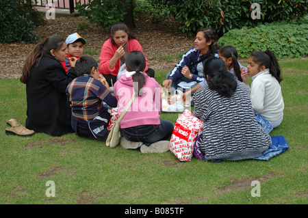 asian family having a picnic in Leicester, England, UK - Stock Photo