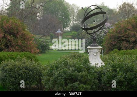 Sundial Garden at Winterthur Estate in Wilmington DE USA - Stock Photo