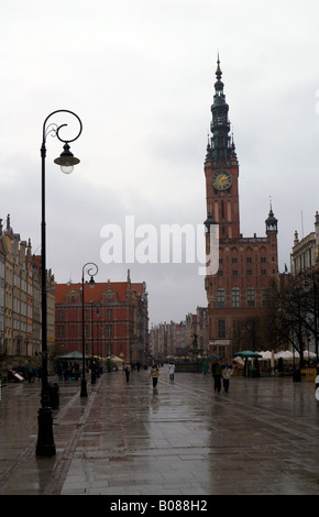 The Old Town of Gdansk (Danzig), Poland, looking towards the Town Hall of the Main City (now the History Museum) - Stock Photo