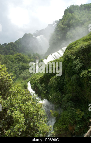 cascata della Marmora, Umbria. Its total height is 165 m (541 feet), making it one of the tallest in Europe and - Stock Photo