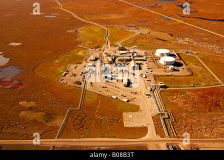 An aerial view of Pump Station No.1 Trans Alaska Oil Pipeline from Prudhoe Bay to the port of Valdez, Alaska. - Stock Photo
