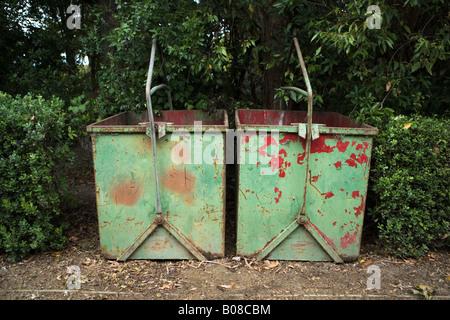 Large steel bins for gardeners waste Victoria Park Esplanade rose garden Palmerston North New Zealand - Stock Photo