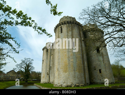 Nunney castle in Somerset UK - Stock Photo