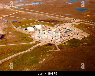 An aerial view of pump Station No. 1. The start of the 800 mile long Trans Alaska Oil Pipeline from Prudhoe Bay - Stock Photo