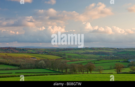 Rolling countryside near Morchard Bishop looking towards Dartmoor Devon England - Stock Photo