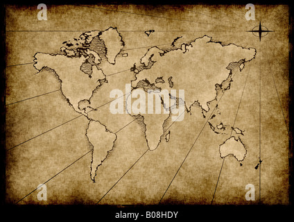 an old world map drawn onto parchment paper - Stock Photo
