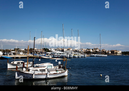 Boats in the harbour of Porto Colom, Majorca, Balearic Islands, Spain - Stock Photo