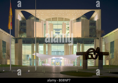 Kanzleramt, Office of the Federal Chancellor by night, Berlin, Germany - Stock Photo