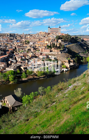 View over the Tajo River onto the historic centre of Toledo, Spain - Stock Photo