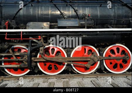Main wheels of steam locomotive, Tangshan, China. 27-Apr-2008 - Stock Photo