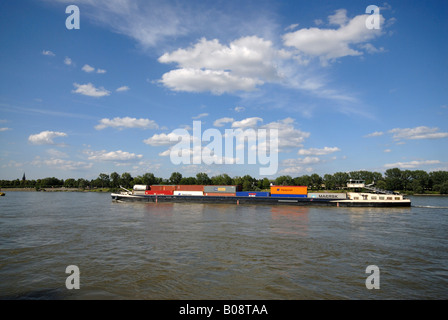 Container ship on the Rhine River, Bonn, North Rhine-Westphalia, Germany, Europe - Stock Photo